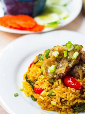 Turmeric Rice with Smokey Eggplant