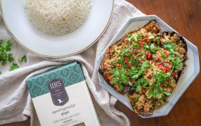 Khmer Eggplant & Tofu Stir Fry (Cha Traop Dot)