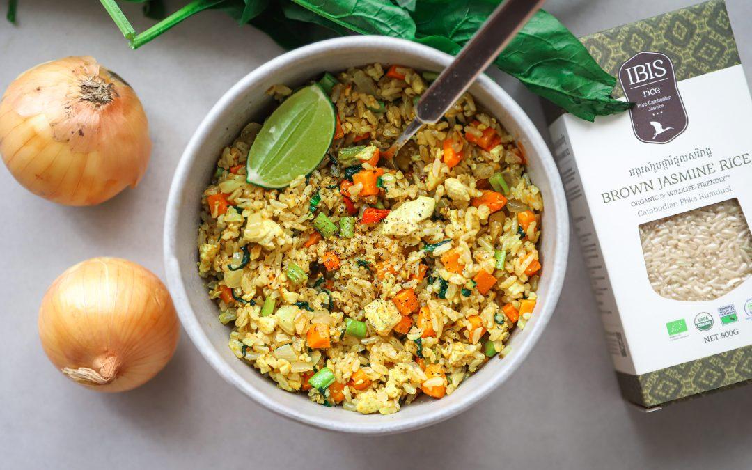 Simple Vegan Fried Brown Rice
